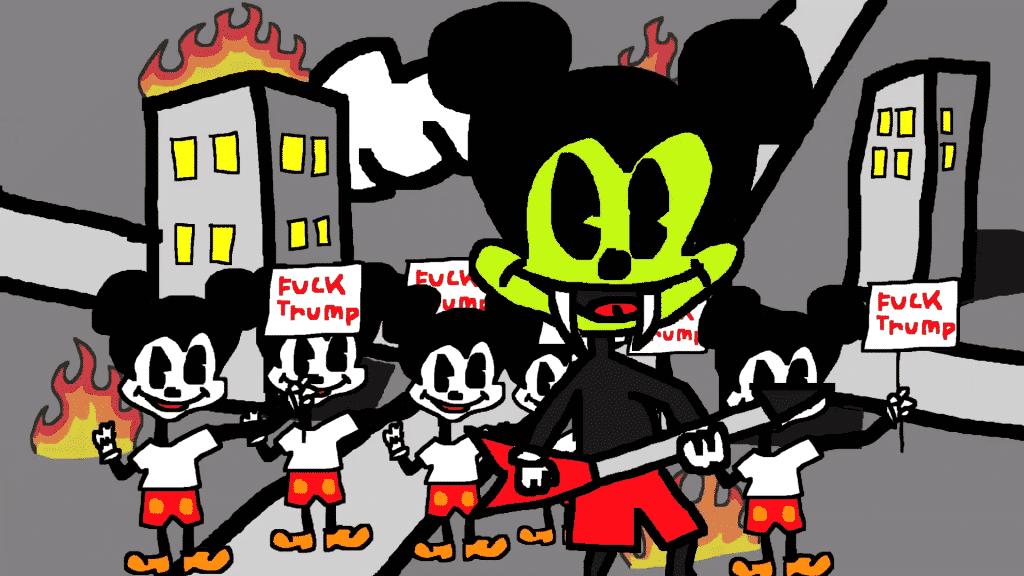 Mickey Mouse Donald Trump Protest Cartoon